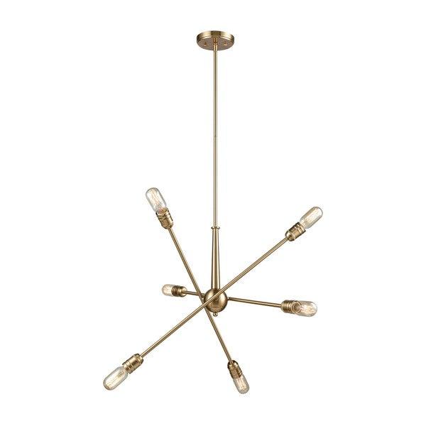 Delphine 6-Light Chandelier, Satin Brass