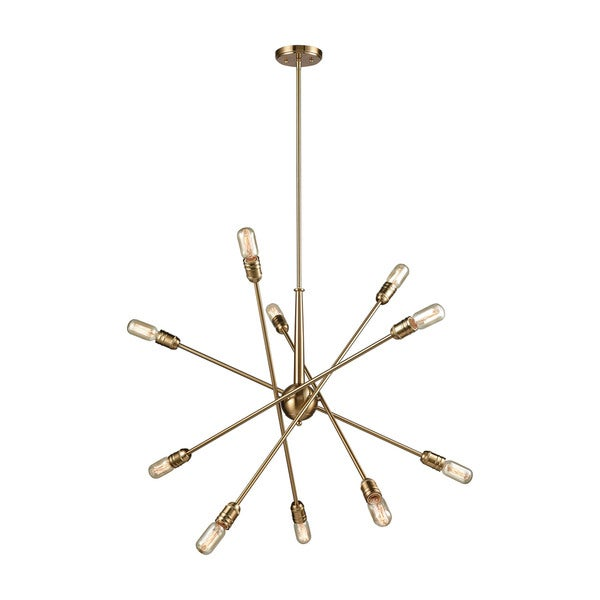 Delphine 10-Light Chandelier, Satin Brass
