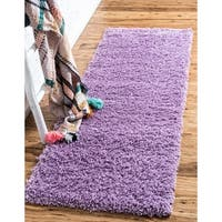 "Unique Loom Solid Shag Runner Rug - 2'6"" x 16'5"" Runner"