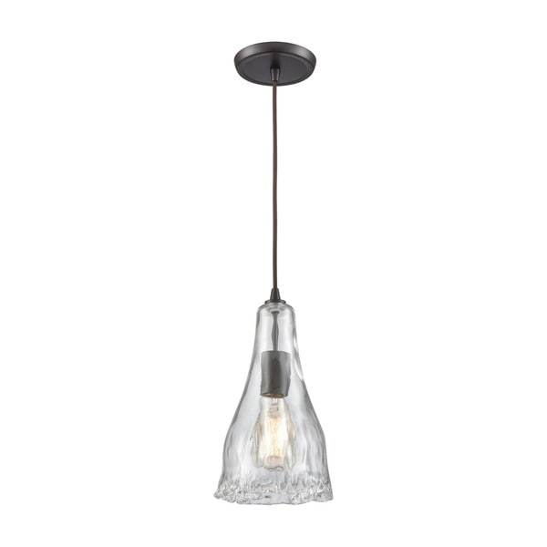 Hand-Formed 1-Light Glass Pendant, Oil Rubbed Bronze