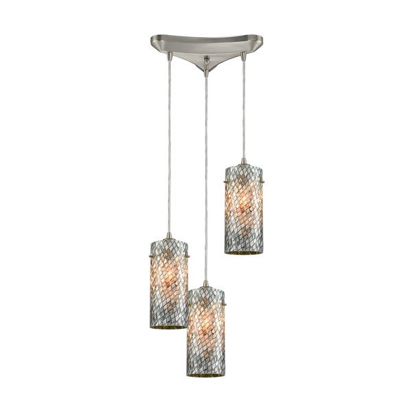 Capri 3-Light Triangular Canopy Pendant, Satin Nickel
