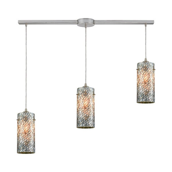 Capri 3-Light Linear Bar Pendant, Satin Nickel