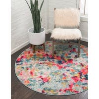 Unique Loom Joyous Chromatic Round Rug - 8' x 8'