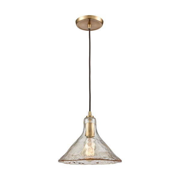 Hand-Formed 1-Light Glass Pendant, Satin Brass