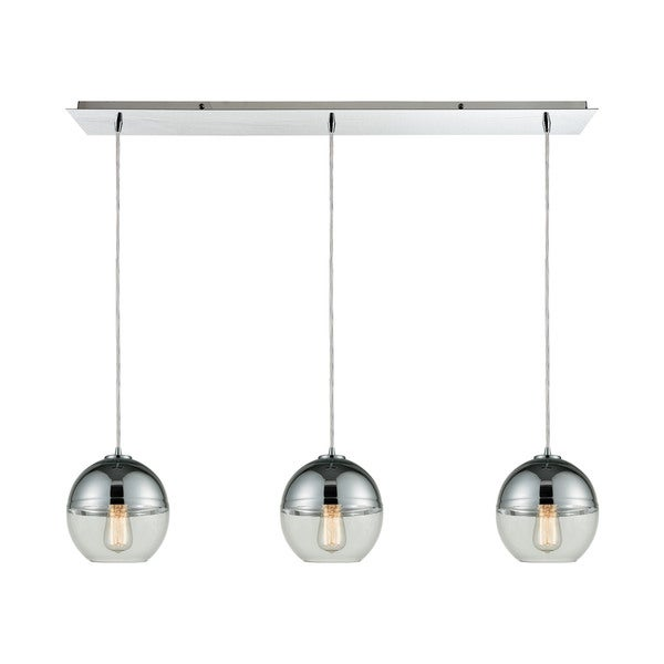 Revelo 3-Light Linear Pan Pendant, Polished Chrome