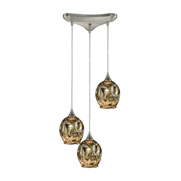 Morph 3-Light Triangular Canopy Pendant, Satin Nickel