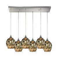 Morph 6-Light Rectangular Pan Pendant, Satin Nickel
