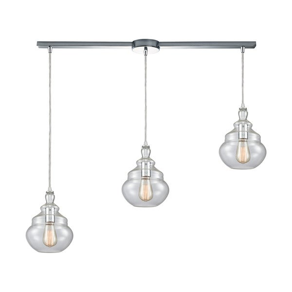 Tabor 3-Light Linear Bar Pendant, Polished Chrome