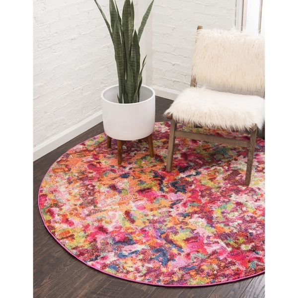 Unique Loom Joyous Chromatic Round Rug - 6' x 6'