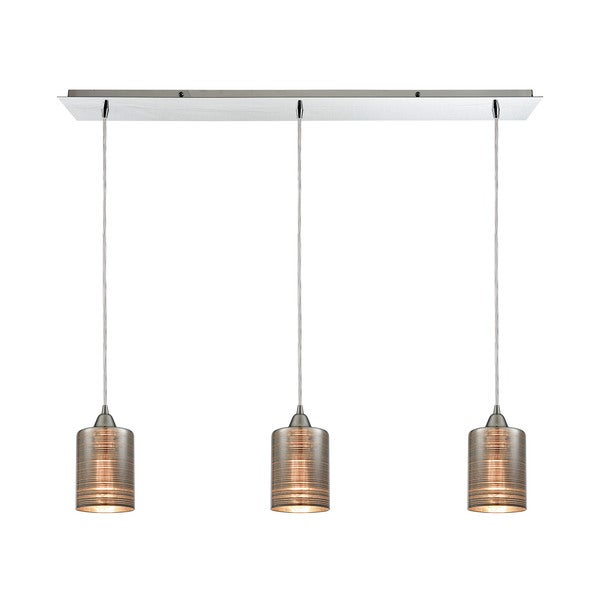 Plated Rings 3-Light Linear Pan Pendant, Polished Chrome