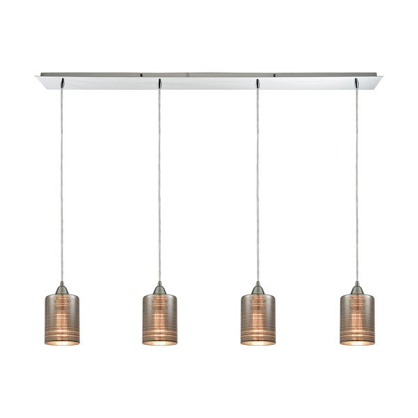 Plated Rings 4-Light Linear Pan Pendant, Polished Chrome