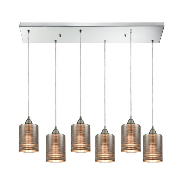 Plated Rings 6-Light Rectangular Pan Pendant, Polished Chrome