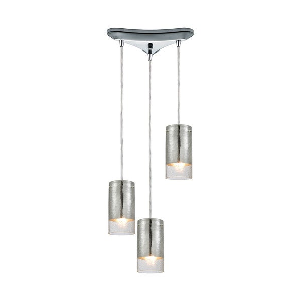 Tallula 3-Light Triangular Canopy Pendant, Polished Chrome