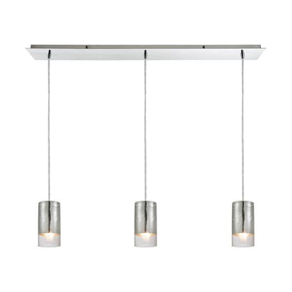 Tallula 3-Light Linear Pan Pendant, Polished Chrome