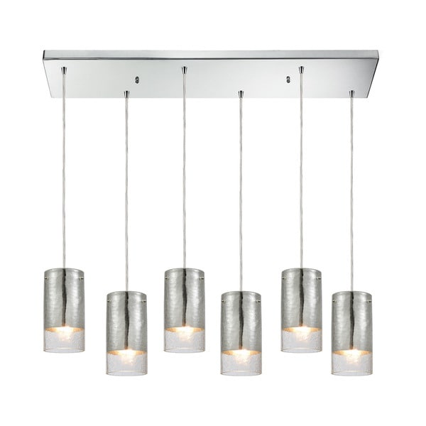 Tallula 6-Light Rectangular Pan Pendant, Polished Chrome