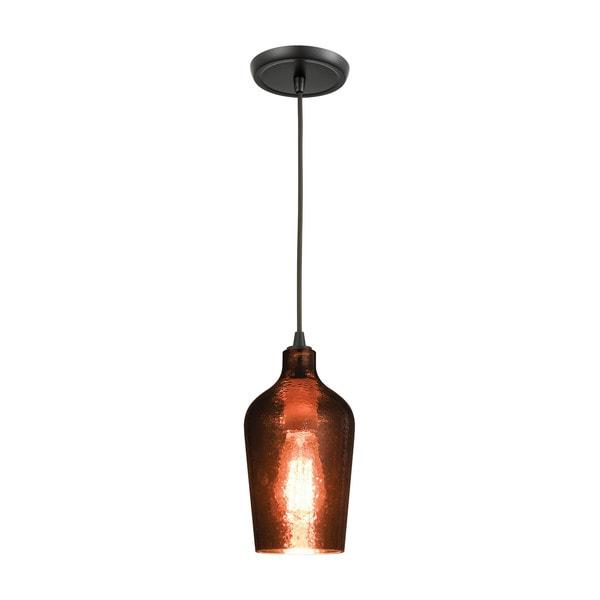 Hammered Glass 1-Light Pendant, Oil Rubbed Bronze