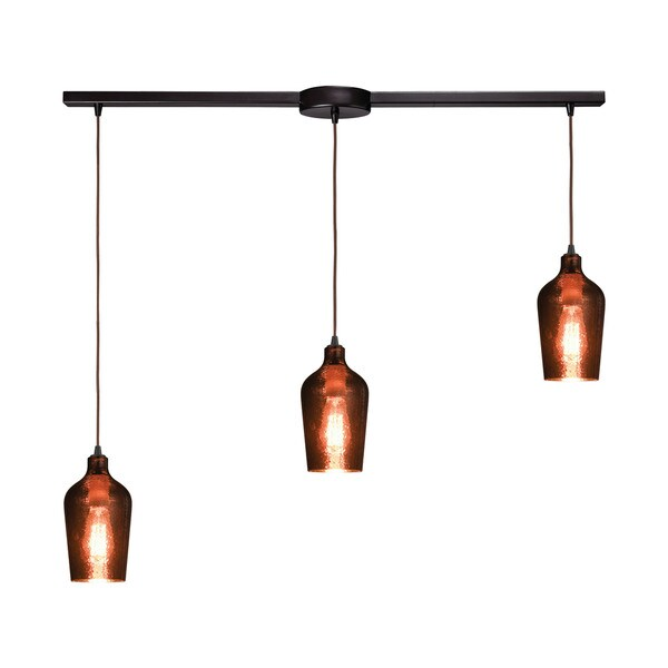 Hammered Glass 3-Light Linear Bar Pendant, Oil Rubbed Bronze