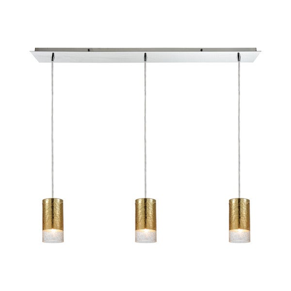 Tallula 3-Light Linear Pan Pendant, Polished Chrome