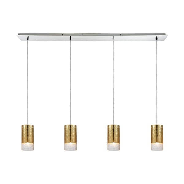 Tallula 4-Light Linear Pan Pendant, Polished Chrome