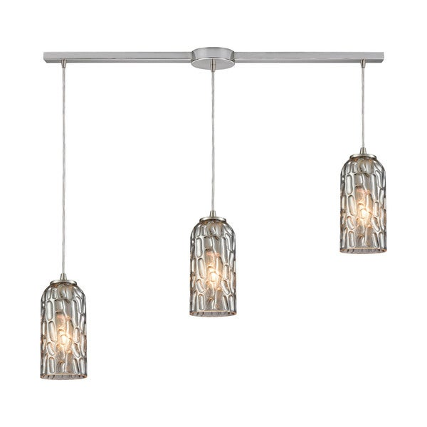 Ansegar 3-Light Linear Bar Pendant, Satin Nickel