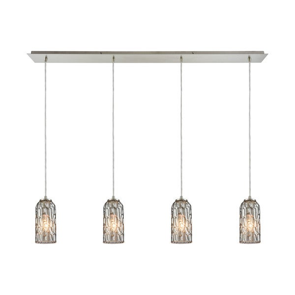 Ansegar 4-Light Linear Pan Pendant, Satin Nickel