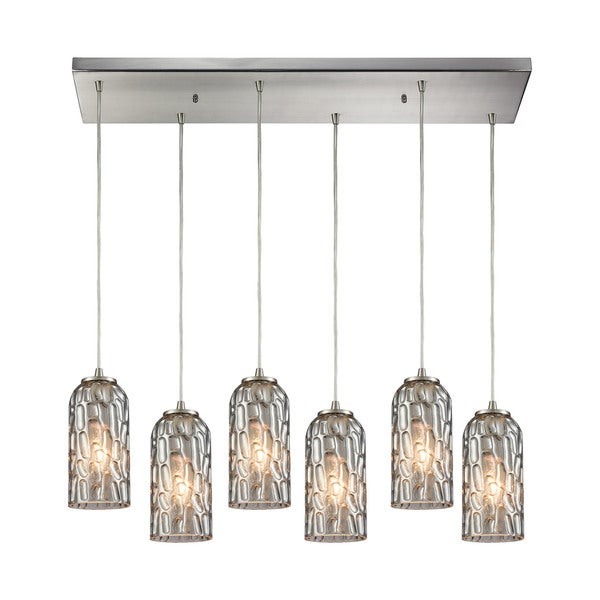 Ansegar 6-Light Rectangular Pan Pendant, Satin Nickel