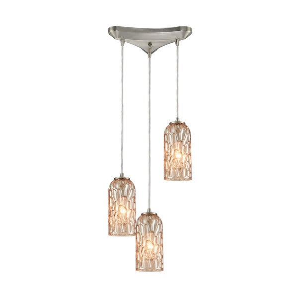 Ansegar 3-Light Triangular Canopy Pendant, Satin Nickel