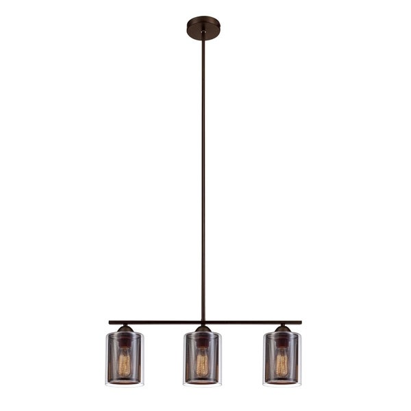 Johnston 3-Light Pendant, Brown Finish, Clear Glass Outer Shades with Brown Mesh Inner Shades