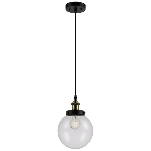 Daario 1-Light Hanging Pendant, Bronze Finish, Antique Brass Decorative Socket, Clear Glass Shade