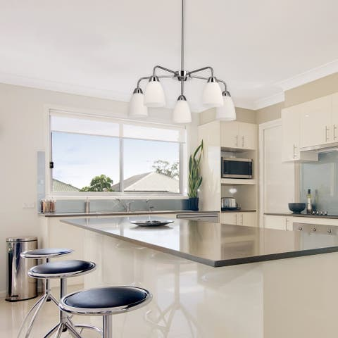 Candice 5-Light Chrome Chandelier with White Glass Shades