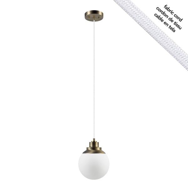 Portland 1-Light Pendant, Brass Finish, Matte Opal White Glass Shade, White Cloth Cord