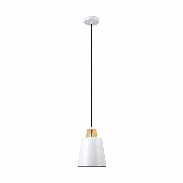 Jeor 1-Light White and Faux Wood Pendant