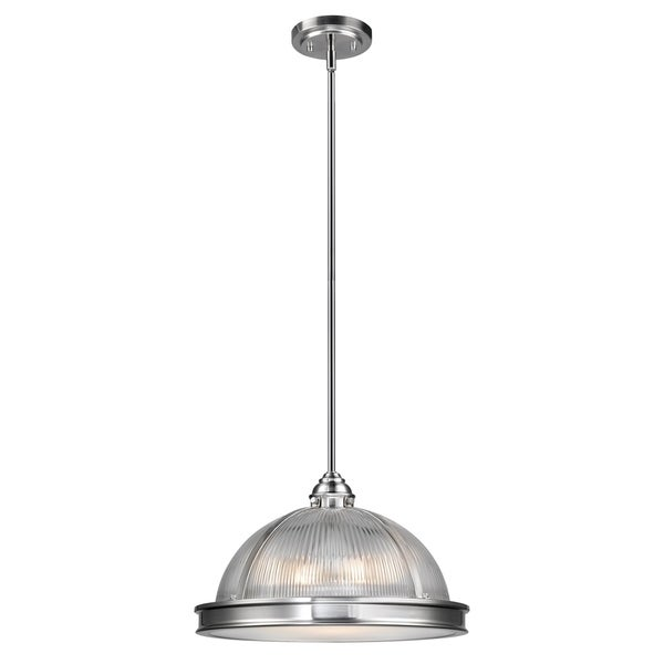 Tarley 3-Light Hanging Pendant, Brushed Steel Finish, Clear Ribbed Glass Shade with Frosted Diffuser