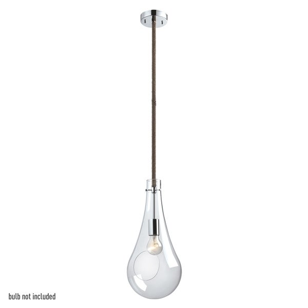 Terra 1-Light Pendant with Twine Wrapped Hanging Rod, Chrome Finish