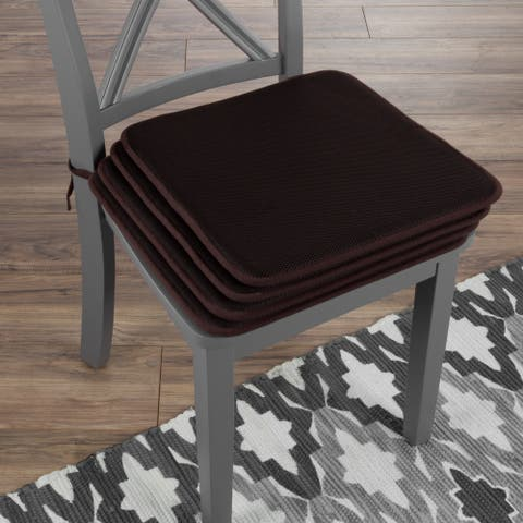 """Chair Cushions-Set of 4 Square Foam 16""""x 16"""" Chair Pads with Ties for Kitchen, Dining Room, Patio by Windsor Home"""