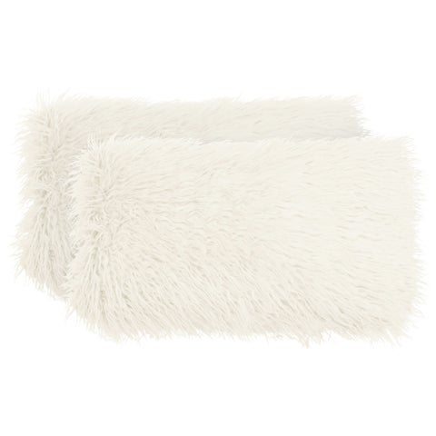 Boho Living Mongolian Faux Fur 2-Piece Decorative Lumbar Pillow Set