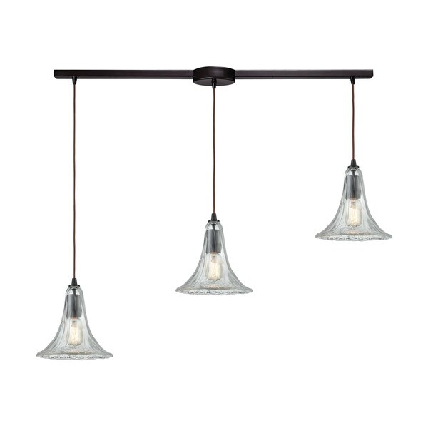 Hand-Formed 3-Light Linear Bar Glass Pendant, Oil Rubbed Bronze
