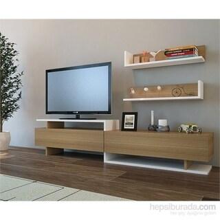 "Decorotika Amor 71"" TV Media Stand with Wall Shelves"
