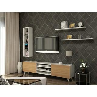 Decorotika Lea Wood 71-inch TV Media Stand with Bookshelves and Wall Shelf
