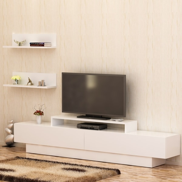 "Decorotika Lusi 71"" TV Media Stand with Wall Shelves 35119279"