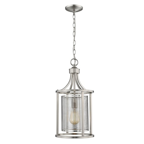 Eglo Verona 1-Light Pendant with Bushed Nickel Finish and Metal Shade