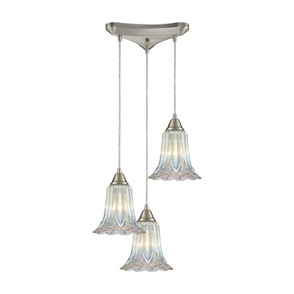 Walton 3-Light Triangular Canopy Pendant, Satin Nickel