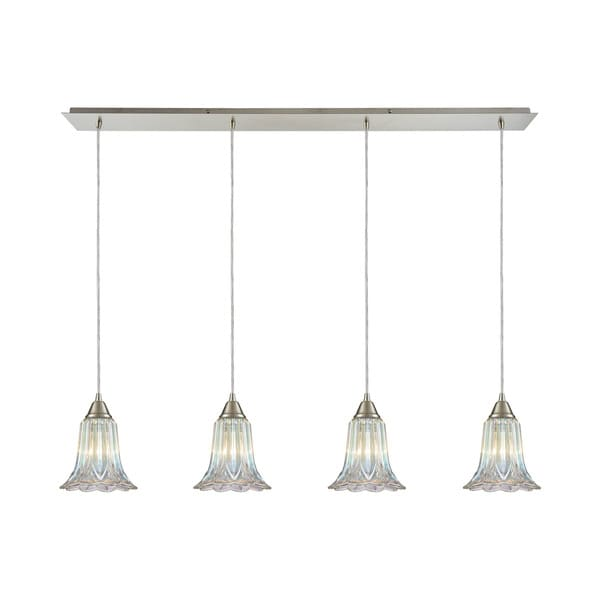 Walton 4-Light Linear Pan Pendant, Satin Nickel