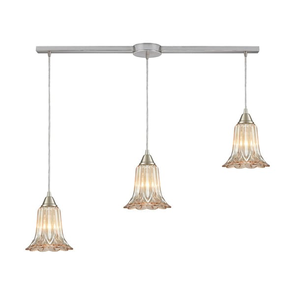 Walton 3-Light Linear Bar Pendant, Satin Nickel