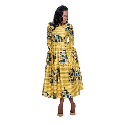 Giovanna Signature Women's Printed Peachskin A-line Dress with Pockets