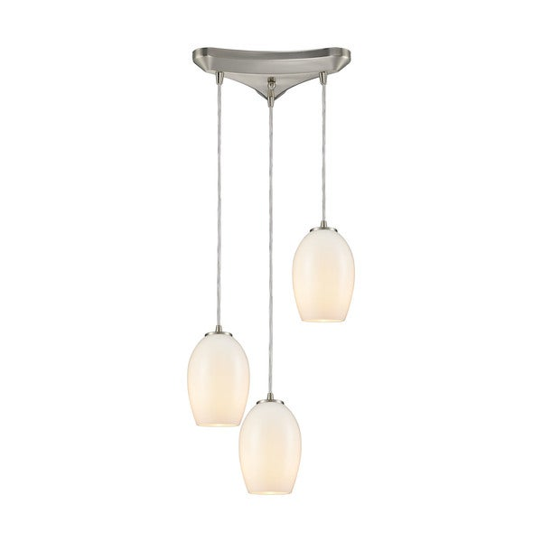 Villiska 3-Light Triangular Canopy Pendant, Satin Nickel