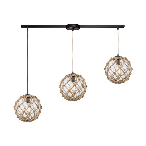Coastal Inlet 3-Light Linear Bar Pendant, Oil Rubbed Bronze