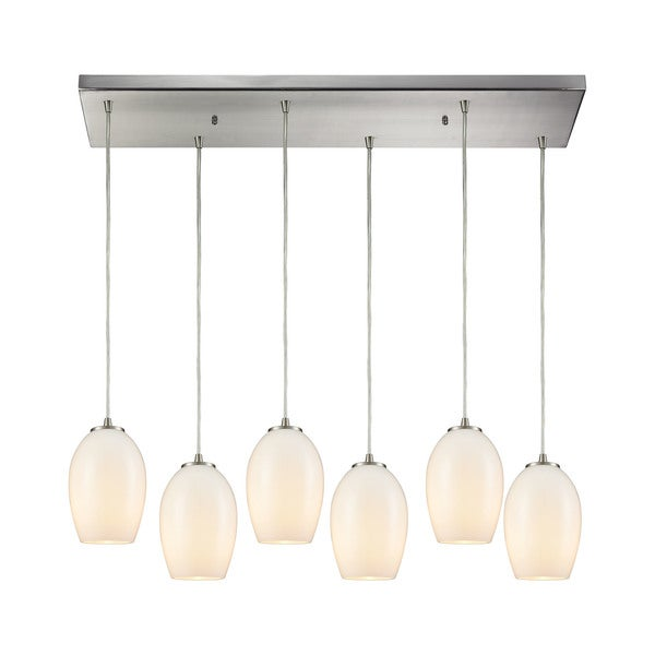 Villiska 6-Light Rectangular Pan Pendant, Satin Nickel