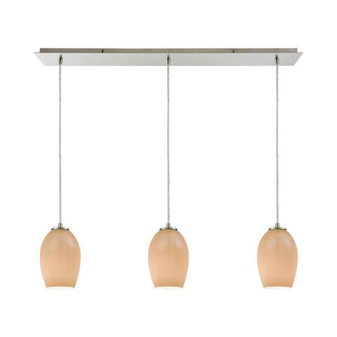 Villiska 3-Light Linear Pan Pendant, Satin Nickel