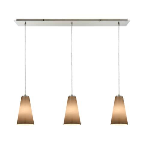 Connor 3-Light Linear Pan Pendant, Satin Nickel